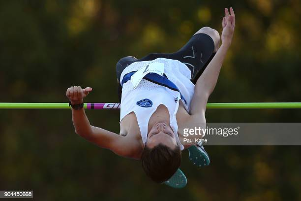 Joseph Baldwin competes in the men's high jump during the Jandakot Airport Perth Track Classic at WA Athletics Stadium on January 13 2018 in Perth...
