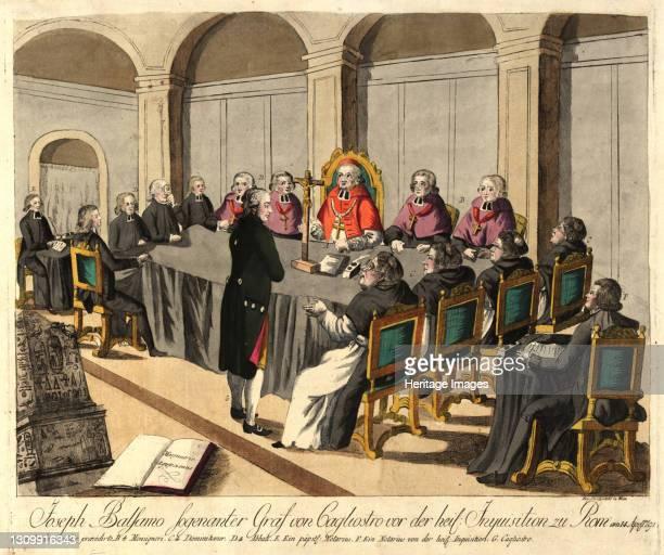 Joseph Balsamo, comte de Cagliostro, before the Inquisition in Rome on April 14 1791. Private Collection. Artist Loeschenkohl, Johann Hieronymus . .