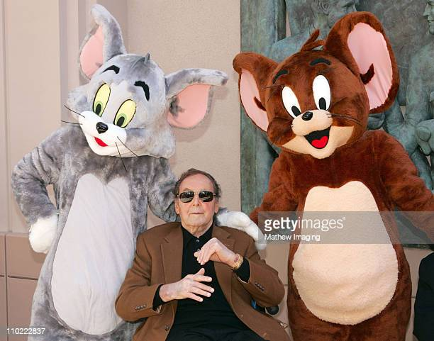 Joseph Barbera with Tom Jerry during HannaBarbera Wall Sculpture Unveiled at the Academy of Television Arts and Sciences at Academy Of Television...