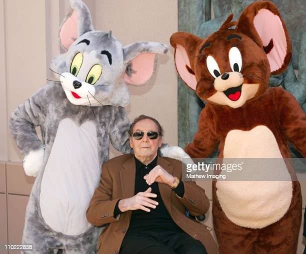 Joseph Barbera with Tom & Jerry during Hanna-Barbera Wall Sculpture Unveiled at the Academy of Television Arts and Sciences at Academy Of Television...