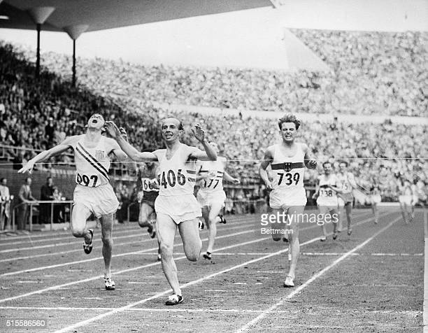 7/26/1952HELSINKI FINLAND Joseph Barthel of Luxembourg flashes across the finish line to win the 1500meter run final at Olympic Stadium July 26...