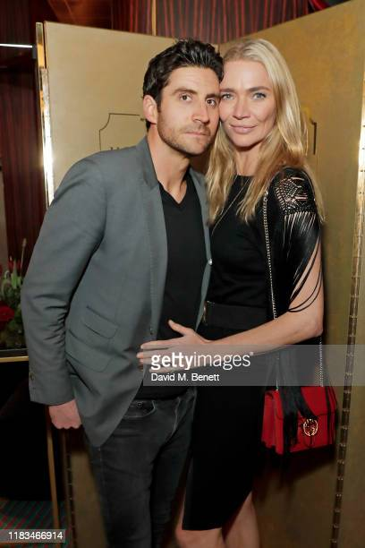 Joseph Bates and Jodie Kidd attend the launch of Malone Souliers' debut men's footwear collection at Isabel on November 19 2019 in London England