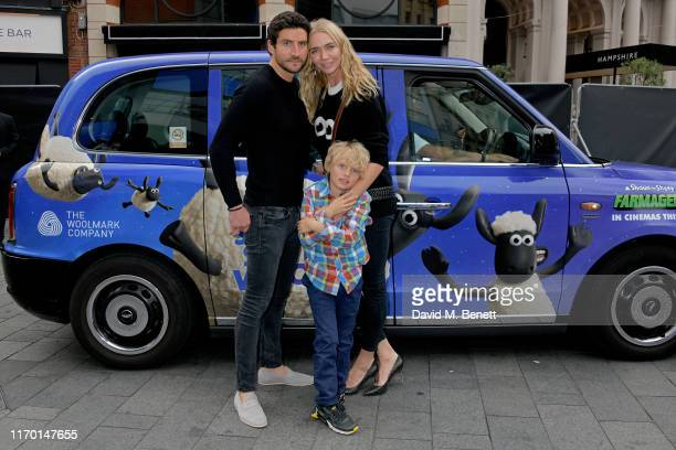 Joseph Bates Jodie Kidd and Indio Vianini Kidd attend the 'A Shaun The Sheep Movie Farmageddon' premiere with EcoAge Woolmark at Odeon Luxe Leicester...
