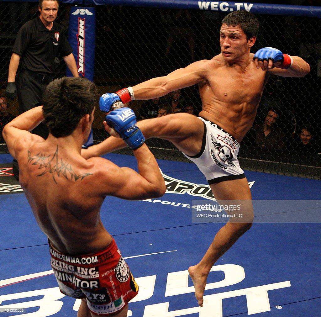 Joseph Benavidez kicks Dominick Cruz at WEC 42 on August 9, 2009 in Las Vegas, Nevada.