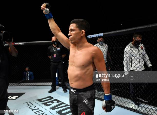 Joseph Benavidez prepares to fight Deiveson Figueiredo of Brazil in their UFC flyweight championship bout during the UFC Fight Night event inside...