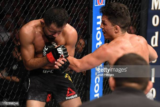 Joseph Benavidez punches Jussier Formiga of Brazil in their flyweight bout during the UFC Fight Night event at the Target Center on June 29, 2019 in...