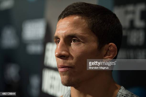 Joseph Benavidez speaks to the media during the UFC International Fight Week Ultimate Media Day at MGM Grand Hotel & Casino on July 9, 2015 in Las...