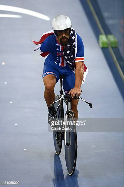 Joseph Berenyi of the United States celebrates after winning gold in the Men's Individual Cycling C3 Pursuit final on day 2 of the London 2012...