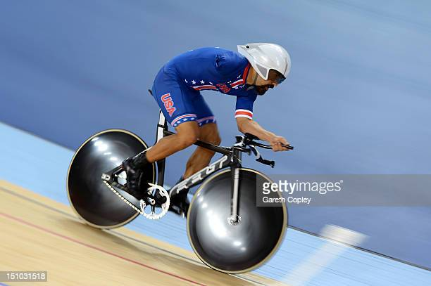 Joseph Berenyi of the United States competes in the Men's Individual Cycling C3 Pursuit qualification on day 2 of the London 2012 Paralympic Games at...