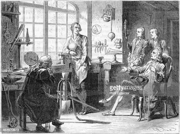 Joseph Black visiting James Watt in his Glasgow workshop c1760 Artist's impression of Joseph Black Scottish chemist visiting James Watt Scottish...