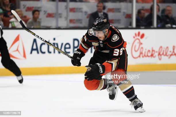 Joseph Blandisi of the Anaheim Ducks skates up ice during the third period of an NHL preseason game against the Arizona Coyotes at Honda Center on...