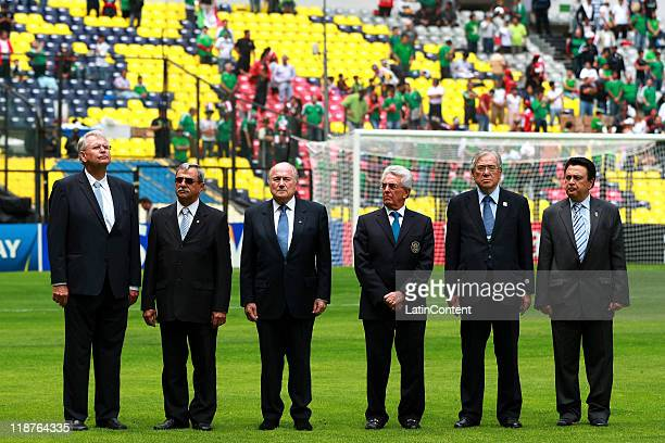 Joseph Blatter President of FIFA and Justino Compean Presiden of FEMEXFUT during the FIFA U17 World Cup Mexico 2011 3rd/4th play off match between...