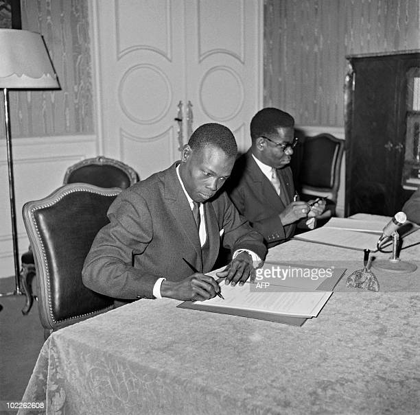 Joseph Brahim Saïd High representative for the republic of Chad and Philippe Bikoumou High representative for the Republic of Congo sign an agreement...