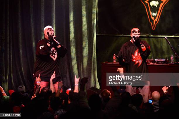 Joseph Bruce aka Violent J and Shaggy 2 Dope of Insane Clown Posse perform at The Regent Theatre on February 15 2019 in Los Angeles California