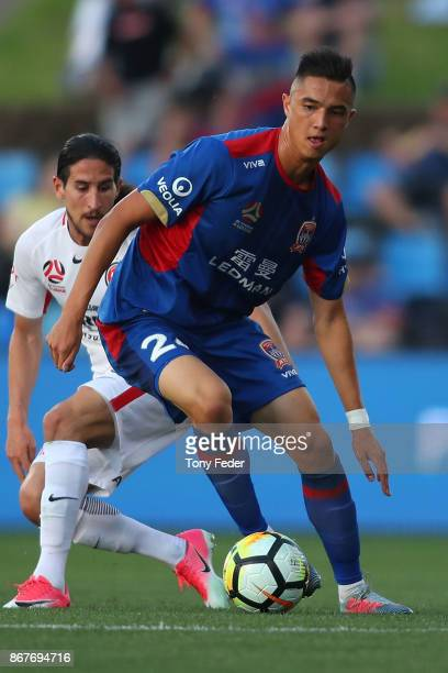 Joseph Champness of the Jets in action during the round four ALeague match between the Newcastle Jets and the Western Sydney Wanderers at McDonald...