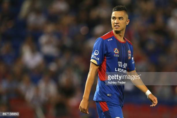 Joseph Champness of the Jets reacts to a near miss at goal during the round 12 ALeague match between the Newcastle Jets and the Western Sydney...