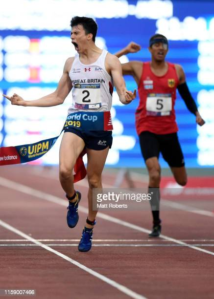 Joseph Choong of Great Britain celebrates as he crosses the line to win gold in the men's laser run on day three of the UIPM World Cup, Modern...
