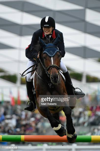 Joseph Choong of Great Britain competes during the men's riding show jumping on day three of the UIPM World Cup, Modern Pentathlon test event for the...