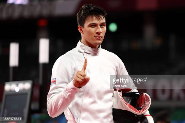Joseph Choong of Team Great Britain celebrates during the Fencing Ranked Round of the Men's Modern Pentathlon on day thirteen of the Tokyo 2020...