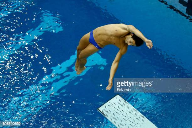 Joseph Cifelli of Purdue University competes during the Senior Men's 3m Springboard Semifinal during the 2017 USA Diving Summer National...