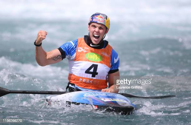 Joseph Clarke of Great Britain celebrates victory in the Final of the Mens K1 Semi Final during Day Three of the 2019 ICF Canoe Slalom World Cup at...