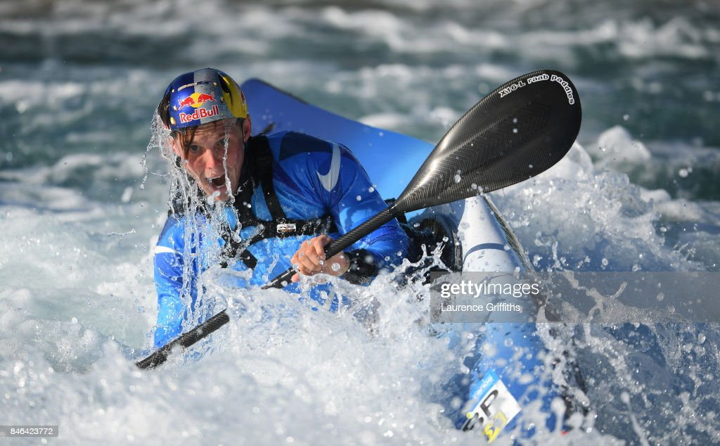 Joseph Clarke of Great Britain trains in the Kayak Single (K1) at Lee Valley White Water Centre on September 13, 2017 in London, England.