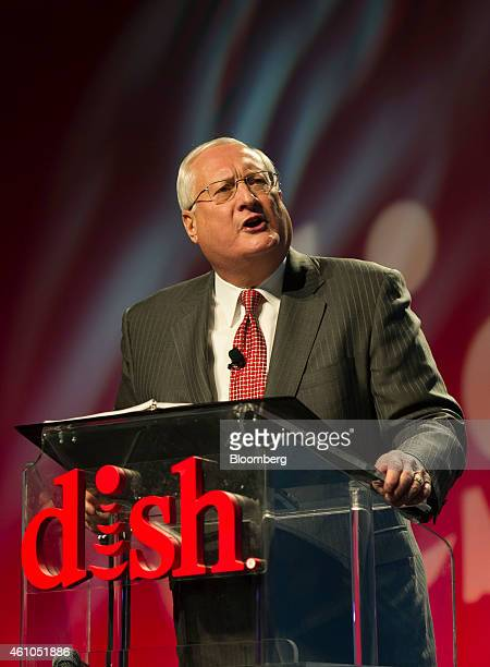 Joseph Clayton chief executive officer for Dish Network Corp speaks at a press conference during the 2015 Consumer Electronics Show in Las Vegas...