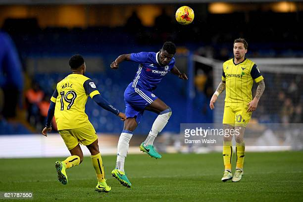Joseph Colley of Chelsea and Rob Hall of Oxford United during a Checkatrade Trophy match between Chelsea and Oxford United at Stamford Bridge on...