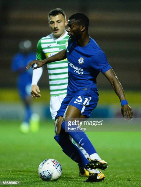 Joseph Colley of Chelsea u21 is put under pressure on the ball by Otis Khan of Yeovil Town during the Checkatrade Trophy match between Yeovil Town...