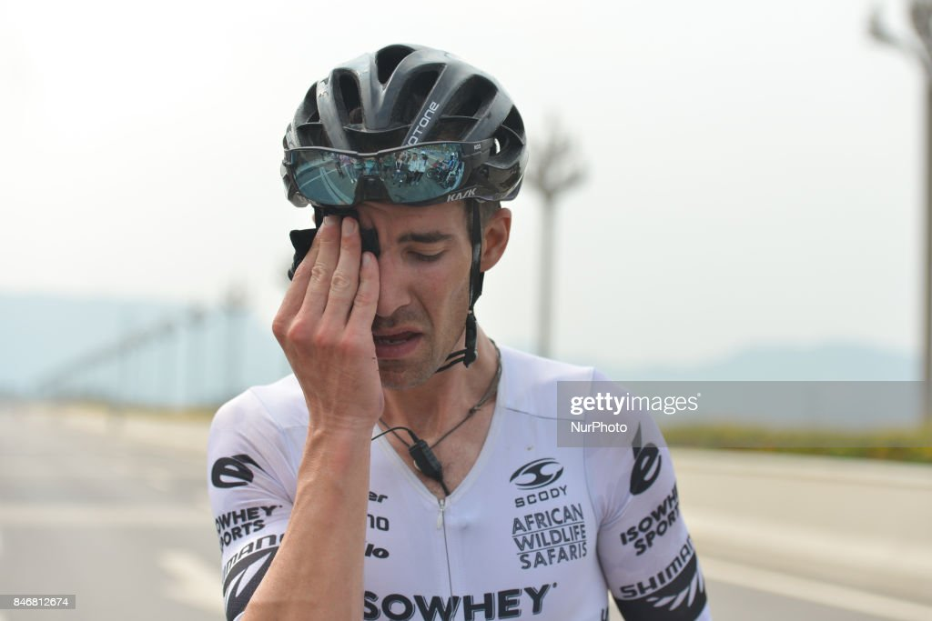 Joseph Cooper from Isowhey Sports Swisswellness team just minutes after he won the third stage of the 2017 Tour of China 1, the 140.6 km of Pingchang Circuit Race. On Thursday, 14 September 2017, in Pingchang County, Bazhong City, Sichuan Province, China.