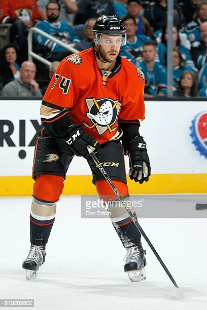 Joseph Cramarossa of the Anaheim Ducks looks across the ice during a NHL game against the San Jose Sharks at SAP Center at San Jose on October 25...