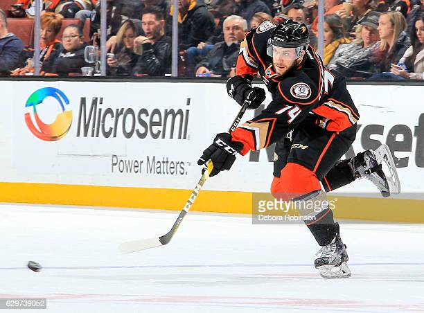 Joseph Cramarossa of the Anaheim Ducks passes the puck during the game against the Carolina Hurricanes at Honda Center on December 7 2016 in Anaheim...