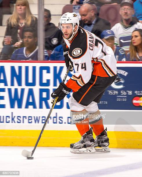 Joseph Cramarossa of the Anaheim Ducks plays the puck against the Vancouver Canucks during their NHL game at Rogers Arena December 30 2016 in...