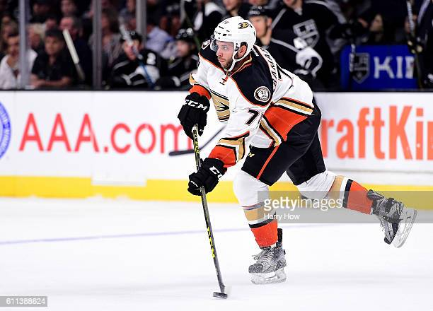 Joseph Cramarossa of the Anaheim Ducks prepares to pass during a preseason game against the Los Angeles Kings at Staples Center on September 28 2016...