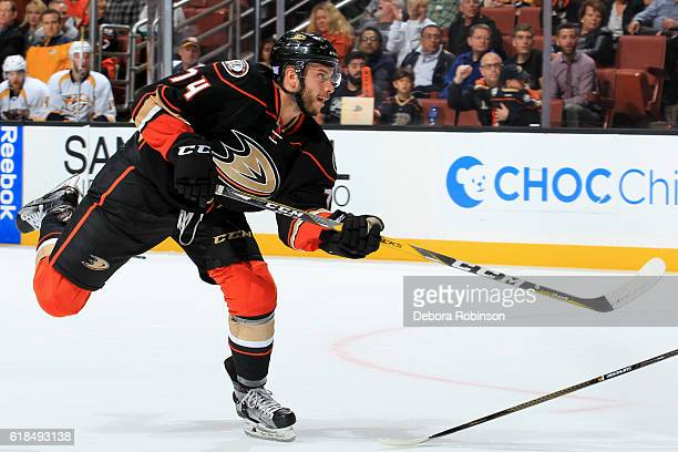 Joseph Cramarossa of the Anaheim Ducks releases a shot during the game against the Nashville Predators on October 26 2016 at Honda Center in Anaheim...