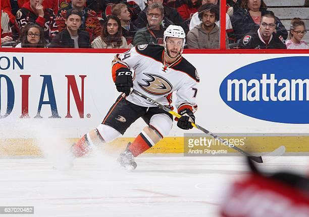 Joseph Cramarossa of the Anaheim Ducks skates against the Ottawa Senators at Canadian Tire Centre on December 22 2016 in Ottawa Ontario Canada