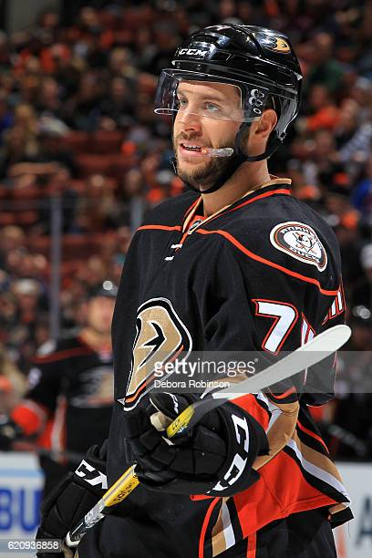 Joseph Cramarossa of the Anaheim Ducks waits for a faceoff during the game against the Columbus Blue Jackets on October 28 2016 at Honda Center in...