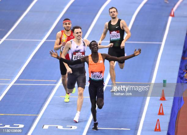 Joseph Deng of Australia celebrates as he wins the men's 800 Metres race during the Muller Indoor Grand Prix IAAF World Indoor Tour event at Arena...