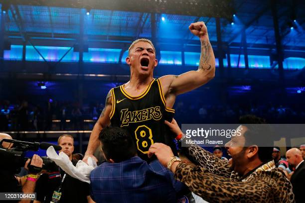 Joseph Diaz celebrates after defeating Tevin Farmer in a unanimous decision to win the IBF 135 World Title at Meridian at Island Gardens on January...