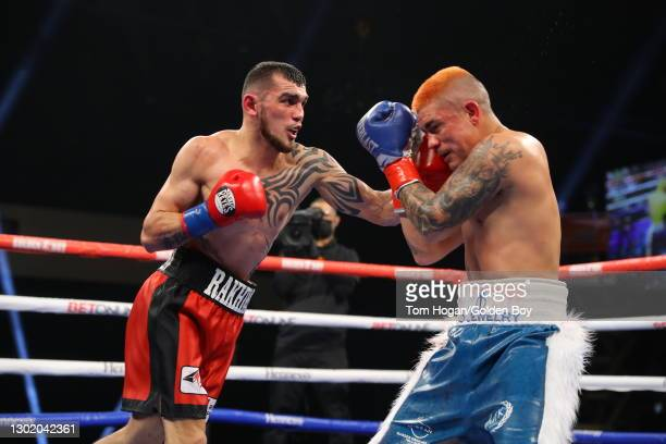 Joseph Diaz Jr. Against Shavkatdzhon Rakhimov at their IBF Super Featherweight Championship at Fantasy Springs Resort Casino February 13, 2021 in...
