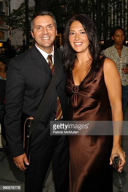 Joseph DiMuro and Jennifer Pfeiffer attend Magnolia Opens First Couture Flower / Plant Kiosk In Bryant Park at Magnolia Kiosk on August 16 2005 in...