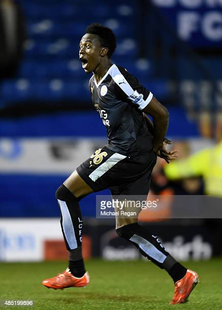 Joseph Dodoo of Leicester City celebrates his hat trick during the Capital One Cup second round match between Bury and Leicester City at Gigg Lane on...