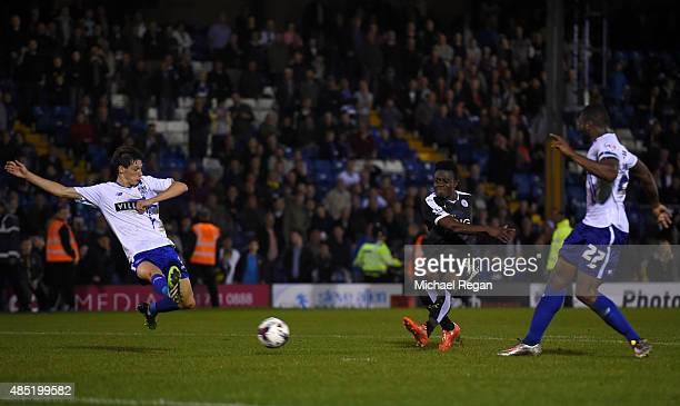 Joseph Dodoo of Leicester City scores his third goal and his team's fourth during the Capital One Cup second round match between Bury and Leicester...
