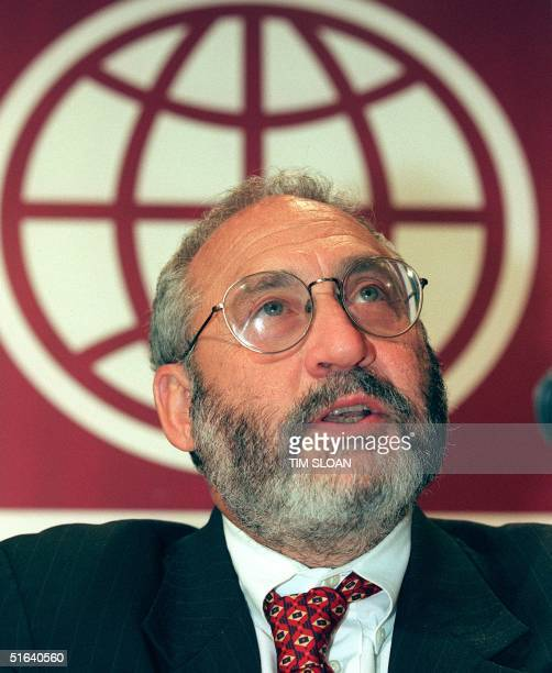 Joseph E Stiglitz senior vice president and chief economist for the World Bank speaks to reoprters during a press conference 16 April at the World...