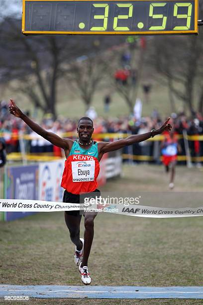 Joseph Ebuya of Kenya celebrates victory in the Senior Men's race during the Iaaf World Cross Country Championships at Myslecinek Park on March 28...