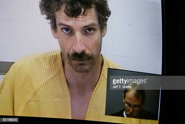 Joseph Edward Duncan III appears at his video arraignment from the Kootenai County jail on two counts of kidnapping in the first degree July 5 2005...
