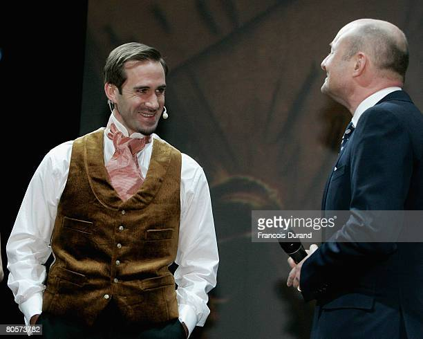 Joseph Fiennes and Georges Kern talks on stage during 'The Crossing' gala event hosted by IWC Schaffhausen held at the Geneva Palaexpo on April 8,...