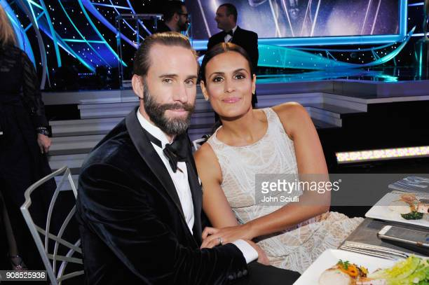 Joseph Fiennes and Maria Dolores Dieguez attend the 24th Annual Screen Actors Guild Awards at The Shrine Auditorium on January 21 2018 in Los Angeles...