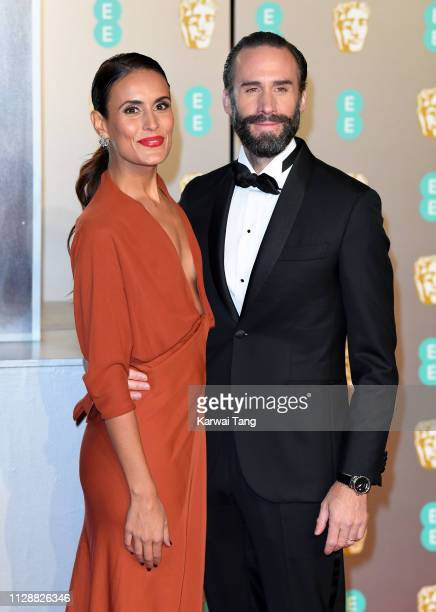 Joseph Fiennes and Maria Dolores Dieguez attend the EE British Academy Film Awards at Royal Albert Hall on February 10 2019 in London England