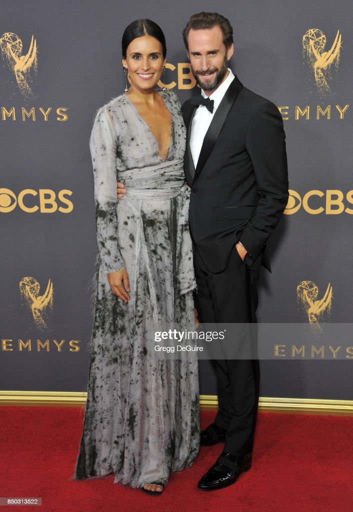 Joseph Fiennes and wife Maria Dolores Dieguez arrive at the 69th Annual Primetime Emmy Awards at Microsoft Theater on September 17, 2017 in Los Angeles, California.
